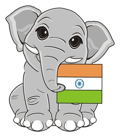 elephant sit and hold Indian flag Stock Photo