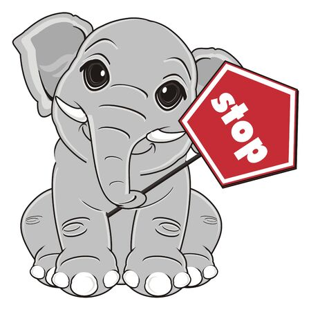 elephant sit and hold red road sign stop