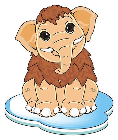 floe: happy mammoth sit top on the floe Stock Photo