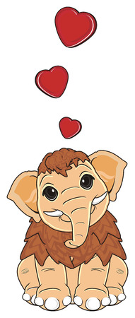 mammoth in love sit Stock Photo