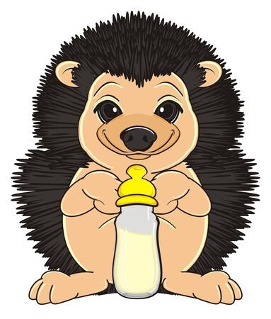 happy hedgehog stand near bottle of milk with nipple