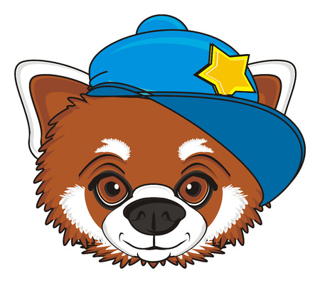 head of red panda in blue cap Stock Photo