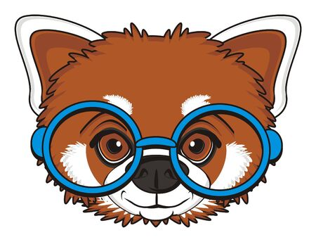 face of red panda in blue glasses