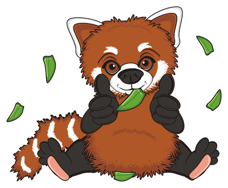 red panda sit and eat a bamboo leaves and leaves fly around