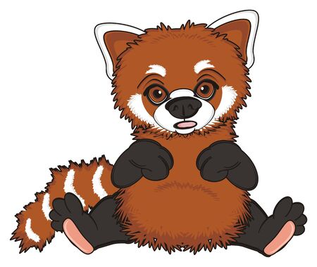 opened mouth: red panda sit with opened mouth Stock Photo