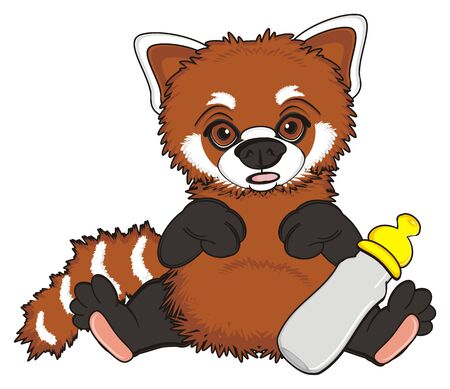 opened mouth: surprise red panda sit with emppty bottle with nipple