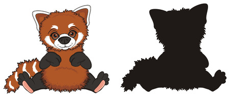 colored redpanda sit with solid black panda