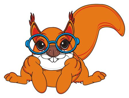 lying in: squirrel in glasses lying Stock Photo