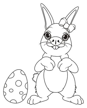 Colorear Bunny Stand Con Huevos Y Cesta Vacía Con Un Arco Fotos ...