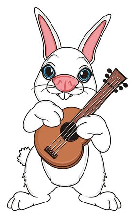 white bunny stand and hold a guitar