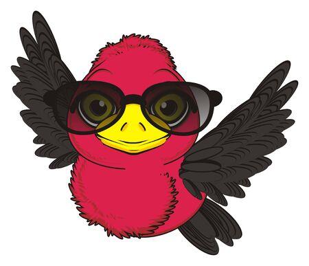 bird in black sunglasses fly