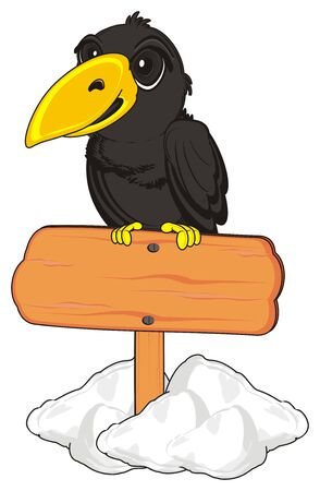 crow sit top on the clean wooden signboard