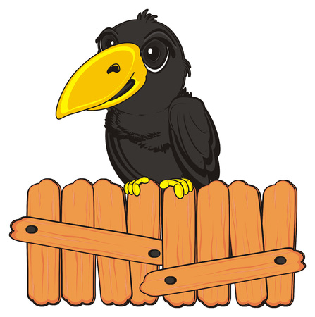 crow sit top on the wooden fence Stock Photo