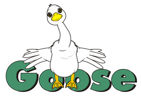 goose stand with word goose spread wings