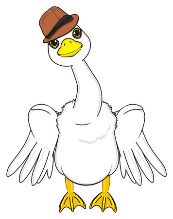 goose in hat with raise wings stand