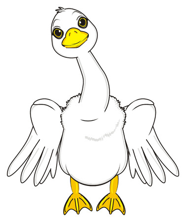 goose with raise wings stand Stock Photo