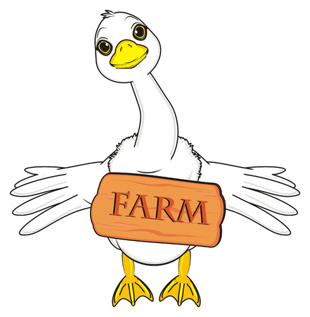 goose with signboard stand