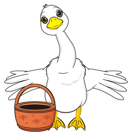 goose with spread wings stand with empty basket