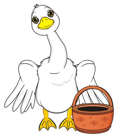 goose with raise wings stnad with empty basket Stock Photo