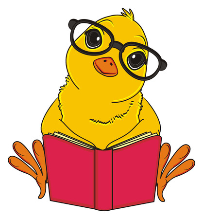 peek: chick in glasses read a book
