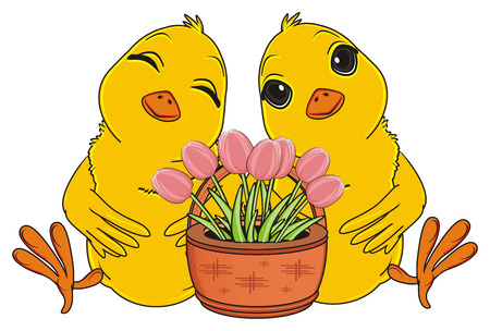 two chicks sit with pink flowers on basket