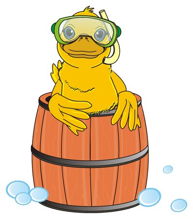 membranes: duck in mask and tube peek up from barrel