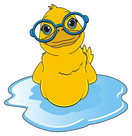 duck in blue glasses swimming