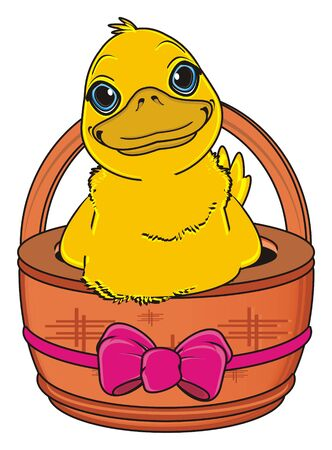duck egg: duck peek up from basket with pink ribbon and bow