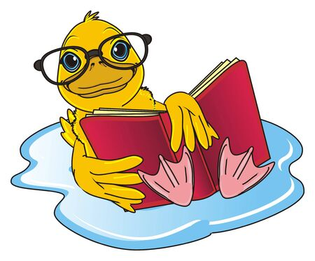 membranes: duck in glasses swimming and read a book