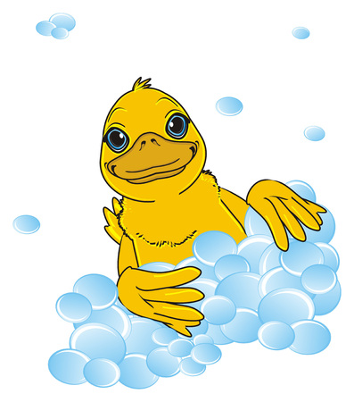 duck peek up from many bubbles
