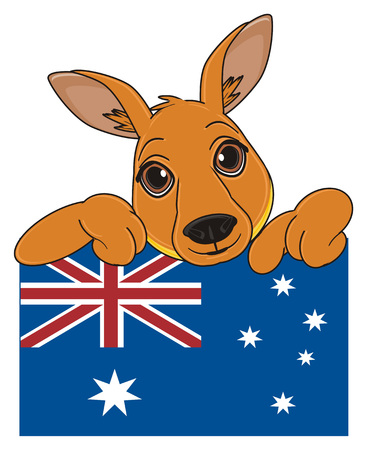 snout of kangaroo pee up from flag and show gesture