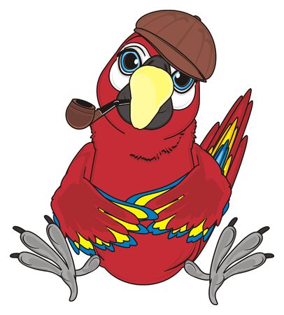 paw smart: red parrot in brown cap sit and smoke a pipe