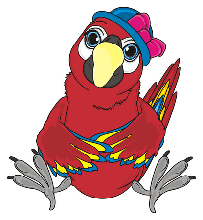 red parrot in blue hat with pink bow sit