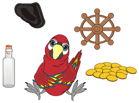 cocked hat: red parrot sit around of many pirates symbols Stock Photo