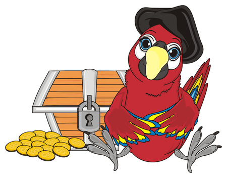 pirate red parrot in black hat sit with chest and coins Stock Photo