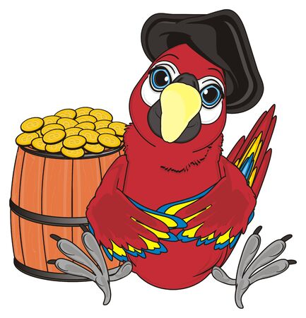cocked hat: pirate red parrot in black hat sit near the wooden barrel with many coins