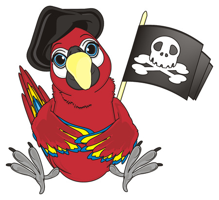cocked hat: pirate red parrot in black hat sit with pirates flag with skull and bones Stock Photo