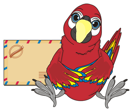 paw smart: red parrot sit with large empty envelope