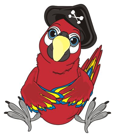 cocked hat: pirate red parrot sit with black hat with bones