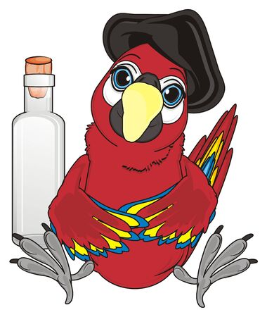 pirate red parrot sit with large empty bottle