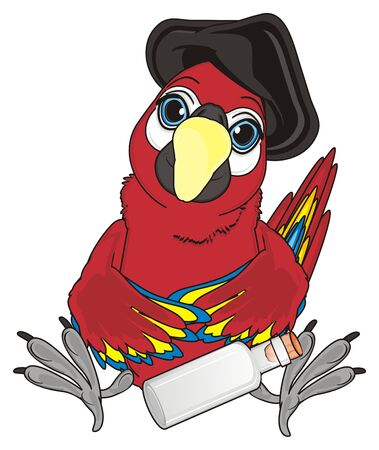 pirate red parrot sit with empty bottle