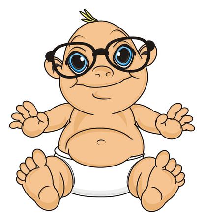 smiling baby boy in glasses sit Stock Photo