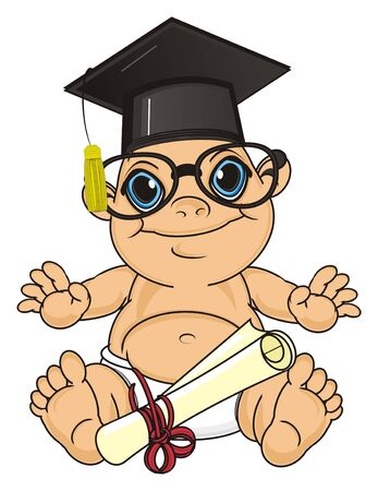 happy baby boy in black hat and glasses sit with paper diploma