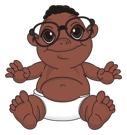 happy  baby boy in glasses sit