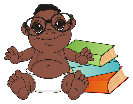 multiple birth: funny baby boy in black glasses sit with colored books