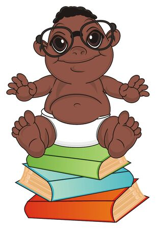 multiple birth: happy baby boy in glasses sit top on the books