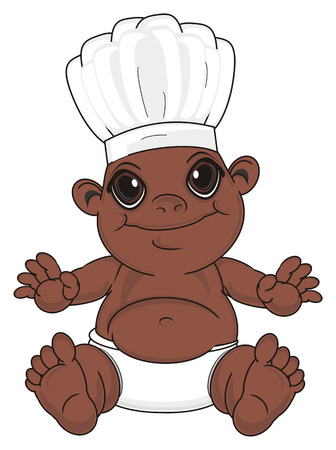 smiling negro baby boy in cooking hat sit