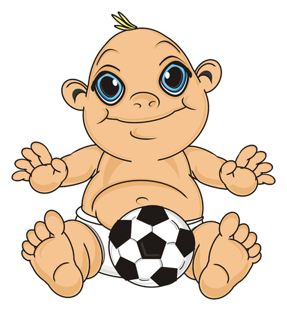 smiling baby boy sit with soccer ball