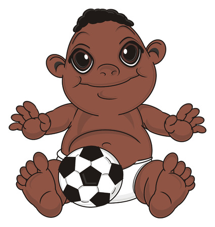 smiling negro baby boy sit with soccer ball