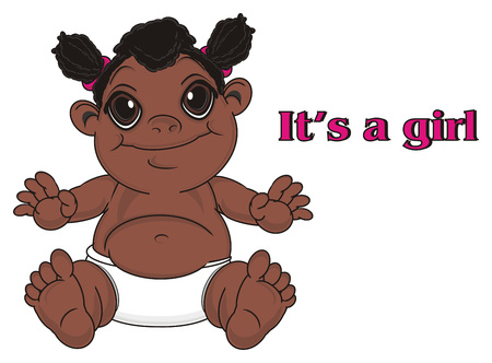 happy negro baby girl sit with pink inscription its a girl Stock Photo